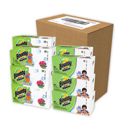 Bounty® Quilted Napkins, 1-Ply, 12 1/10 x 12, 6 PK/Print, 6 PK/White, 200/PK, 12 PK/CT