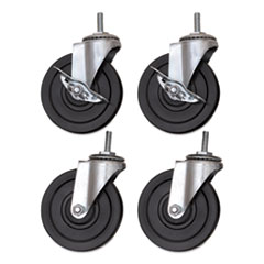 "Alera® 4"" Optional Casters for Wire Shelving, PVC, Grip Ring, 200lb/Caster, 4/Set"