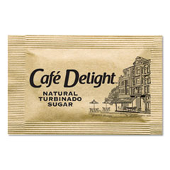 Café Delight Raw Turbinado Sugar Packets, 2.8 g Packet, 2000 Packets/Box