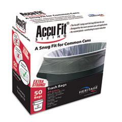 """AccuFit® Linear Low Density Can Liners with AccuFit Sizing, 44 gal, 0.9 mil, 37"""" x 50"""", Clear, 50/Box"""