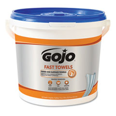 GOJO® FAST TOWELS Hand Cleaning Towels, 9 x 10, Blue, 225/Bucket, 2 Buckets/Carton
