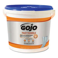 GOJO® FAST TOWELS Hand Cleaning Towels, Cloth, 9 x 10, Blue 225/Bucket