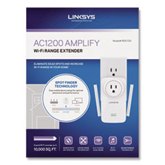 LINKSYS™ AC1200 AMPLIFY Dual-Band WiFi Extender, 2 Ports, 300/867 Mbps, 2.4/5GHz