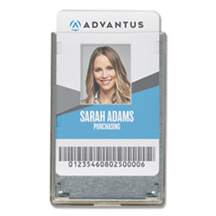 Advantus Rigid Two-Badge RFID Blocking Smart Card Holder, 3 3/8 x 2 1/8, Clear, 20/Pack