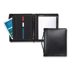 "Samsill® Leather Multi-Ring Zippered Portfolio, Two-Part, 1"" Cap, 11 x 13 1/2, Black"