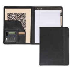 Samsill® Slimline Padfolio, Leather-Look/Faux Reptile Trim, Writing Pad, Black