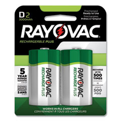 Rayovac® Recharge Plus NiMH Batteries, D, 2/Pack
