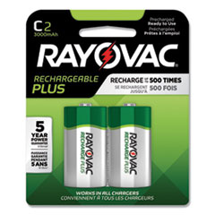 Rayovac® Recharge Plus NiMH Batteries, C, 2/Pack