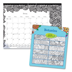Blueline® Monthly Desk Pad Calendar with Coloring Pages