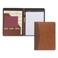 Samsill® Two-Tone Padfolio with Spine Accent, 10 3/5w x 14 1/4h, Polyurethane, Tan/Brown