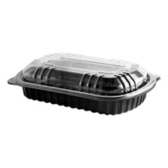 Anchor Packaging MicroRaves Rib Container w/Vented Anti-Fog Lids, Half Slab, Black/Clear, 150/CT