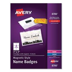 Magnetic Style Name Badge Kit, Horizontal, 4 x 3, White, 24/Pack
