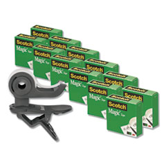 """Clip Dispenser Value Pack, 1"""" Core, Charcoal, Plus 12 Tape Rolls 3/4"""" x 1000"""""""