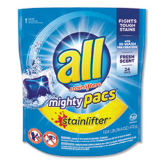 All® Mighty Pacs Laundry Detergent, Stainlifter, Fresh Scent, 24/Pack, 6 Packs/Carton