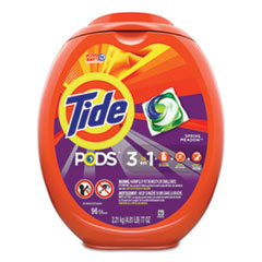 Tide® Detergent Pods, Spring Meadow, 96/Tub, 4 Tubs/Carton