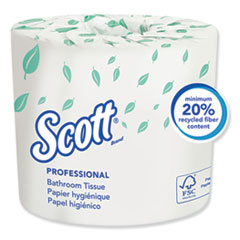 Essential Standard Roll Bathroom Tissue, Traditional, Septic Safe, 2 Ply, White, 550 Sheets/Roll, 20 Rolls/Carton