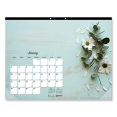 Blueline® Romantic Monthly Desk Pad Calendar, 17.75 x 10.88, Floral, 2022