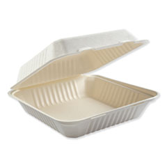 Boardwalk® Bagasse Molded Fiber Food Containers, Hinged-Lid, 1-Compartment 9 x 9, White, 100/Sleeve, 2 Sleeves/Carton