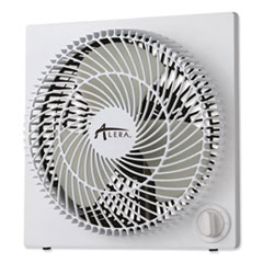 "Alera® 9"" 3-Speed Desktop Box Fan, Plastic, White"