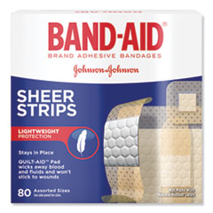 BAND-AID® Tru-Stay Sheer Strips Adhesive Bandages, Assorted, 80/Box