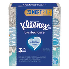 Kleenex® Trusted Care Facial Tissue, 2-Ply, White, 144 Sheets/Box, 3 Boxes/Pack, 12 Packs/Carton