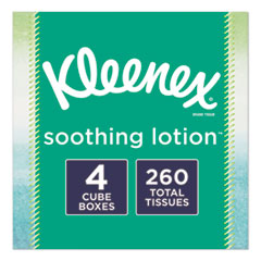 Kleenex® Lotion Facial Tissue, 2-Ply, White, 65 Sheets/Box, 4 Boxes/Pack