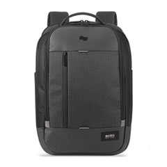 "Solo Magnitude Backpack, For 17.3"" Laptops, 12.5 x 6 x 18.5, Black Herringbone"