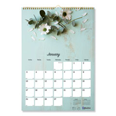 Blueline® One Month Per Page Twin Wirebound Wall Calendar, Floral, 12 x 17, 2022