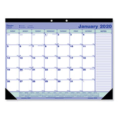 Desk Pad Calendar, 21 1/4 x 16, Blue/White/Green, 2020