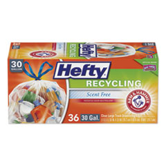 "Hefty® Cinch Sak Tall Kitchen and Trash Bags, 30 gal, 0.8 mil, 30"" x 30"", Clear, 36/Box, 6 Boxes/Carton"