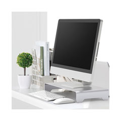 Slim Aluminum Monitor Riser, 15 3/4 x 8 1/4 x 2 1/2, Silver