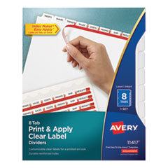 Avery® Print & Apply Index Maker® Clear Label Dividers with Easy Apply Printable Label Strip and White Tabs