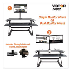 Victor® Monitor Mount with Single and Dual Arm Components, 27.5w x 3d x 16.5h, Black