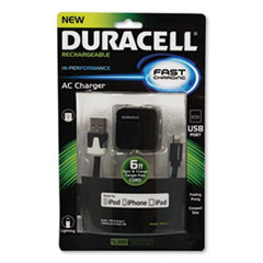 Duracell® Hi-Performance Wall Charger for iPad; iPhone; iPod, Lightning Connector, Folding Prong