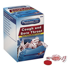 PhysiciansCare® Cough and Sore Throat, Cherry Menthol Lozenges, 50 Individually Wrapped per Box