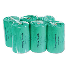 """Poopy Pouch Tie Handle Pet Waste Bags, 14 microns, 7"""" x 15"""", Green, 2,400/Carton"""
