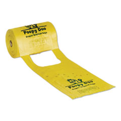 "Poopy Doo Diaper Disposal Bags, 14 microns, 7"" x 15"", Yellow, 2,400/Carton"