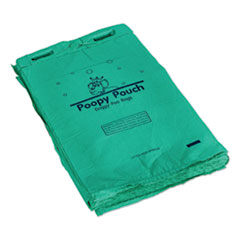 "Poopy Pouch Header Pet Waste Bags, 20 microns, 8"" x 13"", Green, 2,400/Carton"