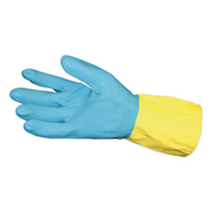 Impact® Flocked Lined Neoprene Over Latex Gloves, Powder-Free, Blue/Yellow, Large, Dozen