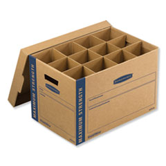 "Bankers Box® SmoothMove Kitchen Moving Kit, Medium, Half Slotted Container (HSC), 18.5"" x 12.25"" x 12"", Brown Kraft/Blue"