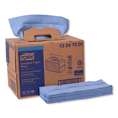 Tork® Industrial Paper Wiper, 4-Ply, 12.8 x 16.5, Blue, 180/Carton
