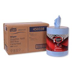Tork® Advanced ShopMax Wiper 450, Centerfeed Refill, 9.9x13.1, Blue, 200/Roll, 2 Rolls/Carton