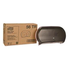 Tork® Twin Jumbo Roll Bath Tissue Dispenser, 19.29 x 5.51 x 11.83, Smoke/Gray