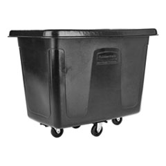 Rubbermaid® Commercial Metal Frame Cube Truck, Rectangular, Polyethylene, 400 lb Capacity, 12 cu ft, Black