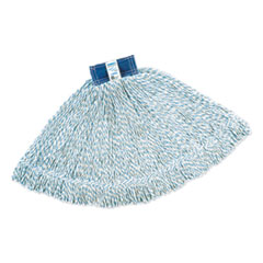 Rubbermaid® Commercial Super Stitch Finish Mops, Cotton/Synthetic, White, Large, 1-in. Blue Headband