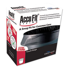 """AccuFit® Linear Low Density Can Liners with AccuFit Sizing, 23 gal, 0.9 mil, 28"""" x 45"""", Black, 300/Carton"""