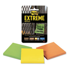 """Water-Resistant Self-Stick Notes, Multi-Colored, 3"""" x 3"""", 45 Sheets, 3/Pack"""
