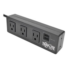 Tripp Lite Protect It! 3-Outlet Surge Protector with Mounting Brackets, 10 ft Cord, 510 Joules, Black