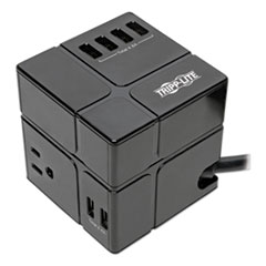 Three-Outlet Power Cube Surge Protector with Six USB-A Ports, 6 ft Cord, 540 Joules, Black
