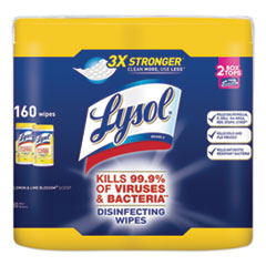 LYSOL® Brand Disinfecting Wipes, 7 x 8, Lemon and Lime Blossom, 80 Wipes/Canister, 2 Canisters/Pack, 3 Packs/Carton